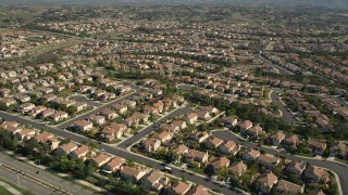 AX0014_053 - 5K stock footage aerial video of flying over residential neighborhoods, Temecula, California