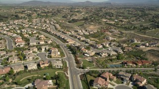 AX0014_054 - 5K stock footage aerial video fly over residential neighborhoods, Temecula, California