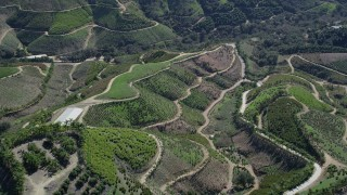 AX0015_014 - 5K stock footage aerial video tilt down to farmland on hills, Fallbrook, California