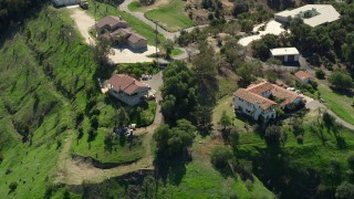 AX0015_018 - 5K stock footage aerial video approach large hilltop homes, Fallbrook, California