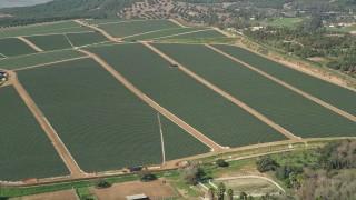 AX0015_030 - 5K stock footage aerial video approach farmland, Fallbrook, California