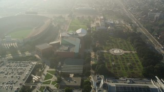 AX0017_042 - 5K stock footage aerial video of University of Southern California campus and Exposition Park, California