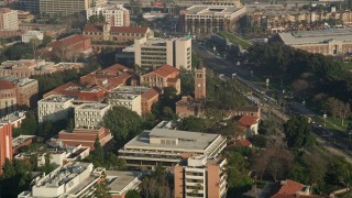 AX0017_046 - 5K stock footage aerial video of orbiting Mudd Hall and Hoose Library, University of Southern California