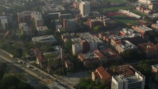 AX0017_049 - 5K stock footage aerial video of University of Southern California campus, California