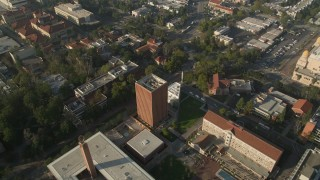 AX0017_050 - 5K stock footage aerial video of flying over University of Southern California campus, California