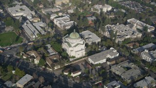 AX0017_051 - 5K stock footage aerial video of orbiting Second Church of Christ Scientist, Los Angeles, California