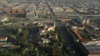AX0017_054 - 5K stock footage aerial video of flying by St. Vincent Catholic Church, Los Angeles, California