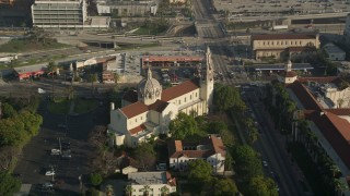 AX0017_057 - 5K stock footage aerial video of passing St. Vincent Catholic Church, Los Angeles, California