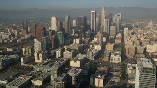 AX0017_062 - 5K stock footage aerial video of approaching Downtown Los Angeles skyscrapers, California