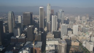 AX0017_063 - 5K stock footage aerial video fly by skyscrapers toward US Bank Tower, Downtown Los Angeles, California