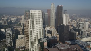 AX0017_072 - 5K stock footage aerial video of approaching skyscrapers, Downtown Los Angeles, California
