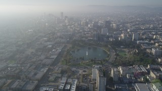 AX0017_074 - 5K stock footage aerial video fly over MacArthur Park, Central Los Angeles, California