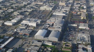 AX0017_077 - 5K stock footage aerial video of approaching Ren-Mar Studios, Hollywood, California