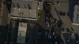 AX0017_080 - 5K stock footage aerial video tilt down to bird's eye of Ren-Mar Studios, Hollywood, California
