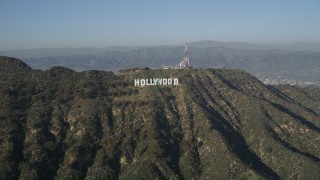 AX0017_088 - 5K stock footage aerial video approach Hollywood Sign, Hollywood, California
