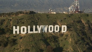 AX0017_092 - 5K stock footage aerial video of downtown and city sprawl revealing Hollywood Sign, Hollywood, California