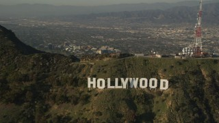 AX0017_095 - 5K stock footage aerial video of orbiting Hollywood Sign, Hollywood, Caliornia