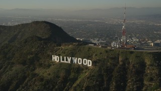AX0017_096 - 5K stock footage aerial video of orbiting Hollywood Sign, Hollywood, California
