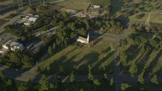 AX0017_098 - 5K stock footage aerial video fly over Forest Lawn Memorial Park toward a small church, Hollywood, California