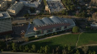 AX0017_106 - 5K stock footage aerial video of Walt Disney Company studios tilt down on animation building, Burbank, California