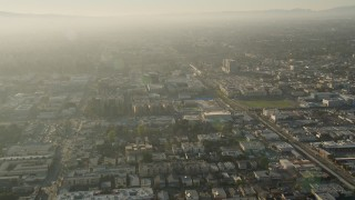 AX0017_110 - 5K stock footage aerial video of orbiting apartment buildings, North Hollywood, California