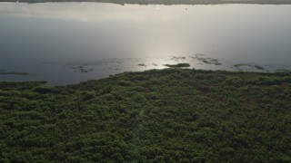 AX0018_062 - 5K stock footage aerial video approach the shore of Lake Washington at sunrise in Florida