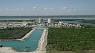 AX0019_001 - 5K aerial stock footage video of St. Lucie Nuclear Power Plant in Florida