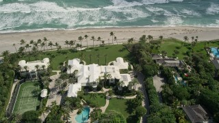 AX0019_025 - 5K stock footage aerial video of a beachfront mansion in Hobe Sound, Florida