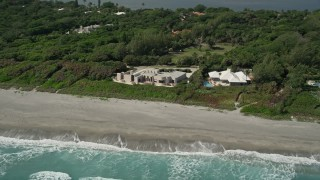 AX0019_028 - 5K stock footage aerial video of a pair of beachfront mansions in Hobe Sound, Florida