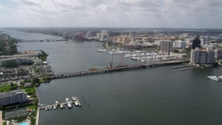 AX0019_058 - 5K stock footage aerial video approach Flagler Memorial Bridge on Lake Worth in Palm Beach, Florida