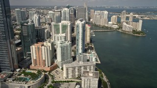 AX0020_022 - 5K stock footage aerial video of Jade at Brickell Bay skyscraper in Downtown Miami, Florida