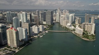 AX0020_023 - 5K stock footage aerial video of Downtown Miami and Brickell Key skyscrapers in Florida