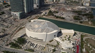 AX0020_029 - 5K stock footage aerial video approach American Airlines Arena in Downtown Miami, Florida