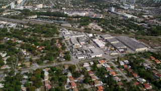 AX0021_003 - 5K stock footage aerial video of North Miami suburban neighborhood, reveal Bal Harbour, Florida