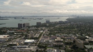 AX0021_005 - 5K stock footage aerial video of apartments and homes in the coastal community of Miami Shores, Florida