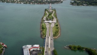 AX0021_008 - 5K stock footage aerial video approach Broad Causeway linking North Miami to the Bay Harbor Islands, Florida