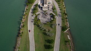 AX0021_010 - 5K stock footage aerial video of bird's eye view of light traffic crossing the Broad Causeway in North Miami, Florida