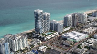AX0021_022 - 5K stock footage aerial video of an oceanfront hotel in Miami Beach, Florida