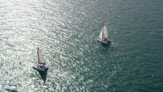 AX0021_040 - 5K stock footage aerial video of an orbit of two catamarans on the ocean near South Beach, Florida