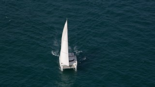 AX0021_042 - 5K stock footage aerial video orbit of a catamaran sailing the ocean near South Beach, Florida