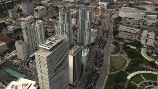 AX0021_093 - 5K stock footage aerial video flyby parkside skyscrapers in Downtown Miami, Florida