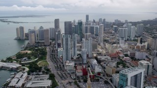 AX0021_097 - 5K stock footage aerial video approach bayfront skyscrapers in Downtown Miami, Florida