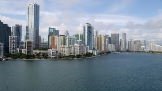 AX0021_117 - 5K stock footage aerial video tilt to reveal skyline of Downtown Miami, Florida