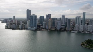 AX0021_123 - 5K stock footage aerial video of bayfront skyscrapers on the shore of Downtown Miami, Florida