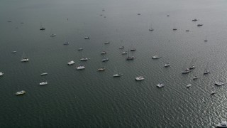 AX0021_151 - 5K stock footage aerial video flyby catamarans and sailing boats anchored near Coconut Grove, Florida