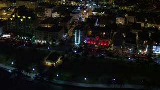 AX0023_109 - 5K stock footage aerial video of hotels on Ocean Drive at night in South Beach, Florida
