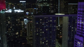 AX0023_147E - 5K stock footage aerial video flyby Brickell on the River and 500 Brickell at night in Downtown Miami, Florida