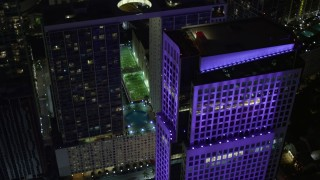 AX0023_167 - 5K stock footage aerial video of 500 Brickell and Brickell World Plaza high-rises at night in Downtown Miami, Florida