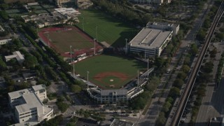 AX0024_010 - 5K stock footage aerial video of Mark Light Field, Alex Rodriguez Park, Cobb Stadium, University of Miami, Coral Gables, Florida