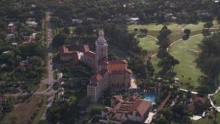 AX0024_018 - 5K stock footage aerial video of the Coral Gables Biltmore Hotel, Coral Gables, Florida